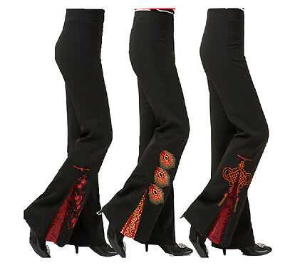 Brand New Arrival Chinese Traditional Women's Embroider Flares Trousers M-4XL