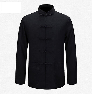 New Chinese Traditional Men's Cotton Linen Embroider Kung Fu Jackets Coat M-3XL