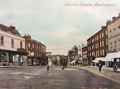 Antique Pc View Of The Market Square At Buckingham Buckinghamshire 1908