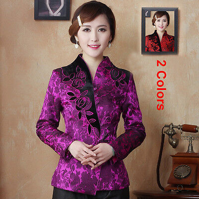 New Arrival Outerwear Women's Embroider Flower Coil Clasper Jacket Coat M-5XL