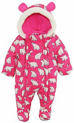 Wippette Baby Girls Polar Bear Puffer Microfiber Quilted Snowsuit Pram Suit