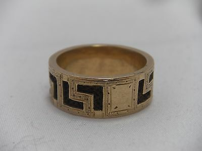 Antique 10K Yellow Gold Mourning Ring Woven Hair Greek Key Design Size 7.25