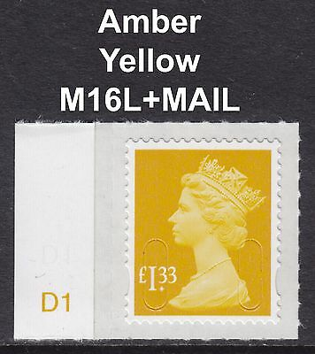 2016 Machin £1.33 Amber Yellow SG U2934a M16L With D Cylinder Margin Tab MNH SA