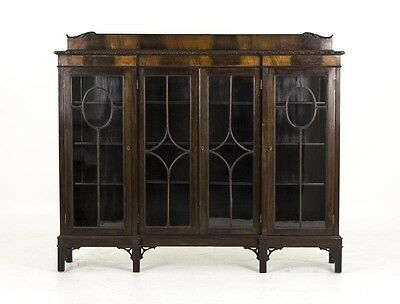 B509 Antique Scottish 4 Door Inverted Mahogany Bookcase, Display, Curio Cabinet