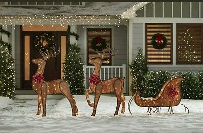 Santa Sleigh With Reindeer Christmas Lighted LED PreLit Holiday Yard Decor Lawn