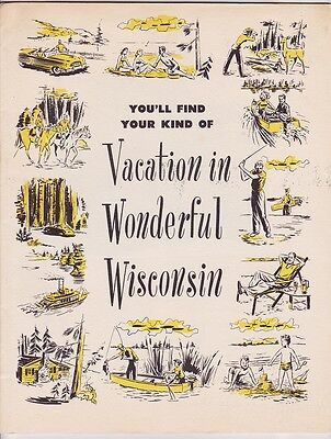 1950's Wisconsin Vacations Promotional Booklet Brochure