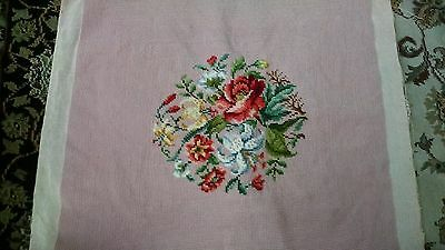 """Vintage NEEDLEPOINT FLORAL DESIGN SEAT COVER Handmade Finished 18"""" by 19"""""""