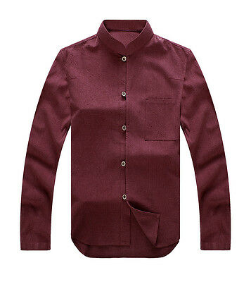 Brand New Solid Cotton Linen Chinese Traditional Men's Kung Fu Jacket Coat M-3XL
