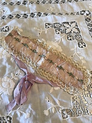 Antique French Silk And Lace Ribbon Head Band  Needle Work Floretts And Ribbon
