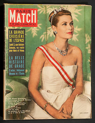 'paris-Match' French Vintage Magazine Grace Kelly Cover 17 October 1959