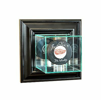 Wall Mounted Puck Display Case - Black Wood Trim