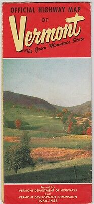 1954-55 State Issue Official Vermont Road Map