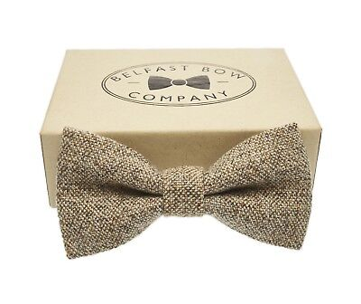 Handmade Tweed Bow Tie in Grey Oatmeal Gift Boxed Adult & Boys sizes available
