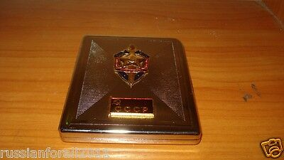 STAINLESS STEEL CIGARETTE CASE with USSR Soviet Union KGB sign emblem