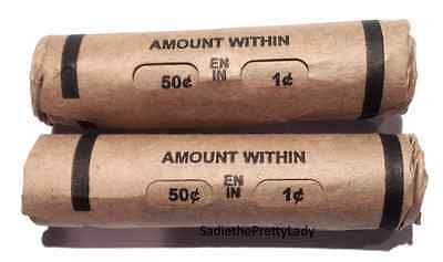 Two Premium Window Wrapped Wheat Lincoln Cent Penny Rolls - Unsearched