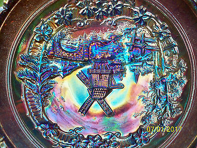 Antique Imperial Glass Carnival Purple Windmill Bowl ~ Electric Highlights