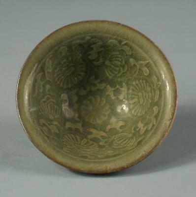 Chinese Song Yaozhou kiln green glaze carved hats small bowl