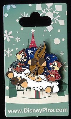 Chip and Dale Roasting Acorns Stained Glass Christmas Holiday Disney Pin 118466