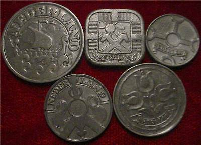 OCCUPATION HOLLAND WWII 3RD REICH NAZI GERMANY AUTHENTIC 5 COIN TYPE SET 1940`s