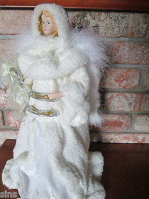 """Christmas Tree Topper Snow White Angel Centerpiece 16"""" Tall Real Feathers"""