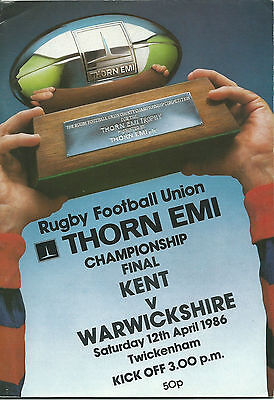 KENT v WARWICKSHIRE RUGBY UNION COUNTY FINAL  PROGRAMME 12 APR 1986