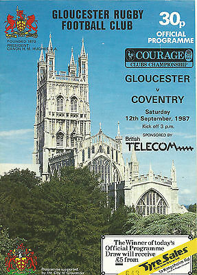 GLOUCESTER RUGBY UNION PROGRAMMES - 3 x HOMES 1987-88