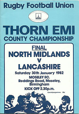 NORTH MIDLANDS v LANCASHIRE RUGBY UNION COUNTY FINAL PROGRAMME 30 JANUARY 1982