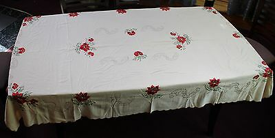 """VINTAGE HAND EMBROIDERED TABLECLOTH EXQUISITE DELICATE EMBROIDERY""""Poinsettias"""""""