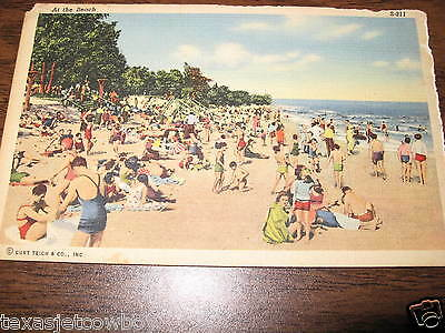 Vintage Linen Color Post Card Bathing Suits on Beach Very OLD Circa Guess 1920