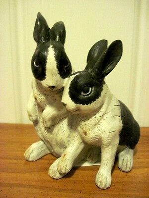 """NEW Spring Figure of """" Two Black & White Rabbits"""""""