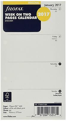 Filofax Personal Size Week on Two Pages Calendar - 2017 - (17-68421) - English