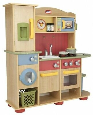 Little Tikes Premium Cooking Creations Wood Kitchen Wooden Kids Toy Playset