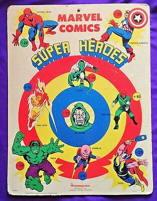 Transogram Marvel Comics Super Heroes Dart Board [1976] Vintage  Hulk Spider-Man
