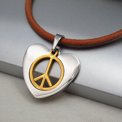 Silver Gold Retro Love Peace Pendant Womens Mens 3mm Brown Leather Cord Necklace