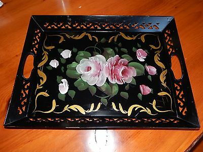 Vintage Tole Hand Painted  Black  Metal Tray With Cut Outs