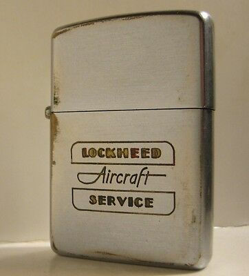 1947-1949 Zippo Pat. 2032695 3 Barrel Nickel Insert Lockheed Aircraft Service