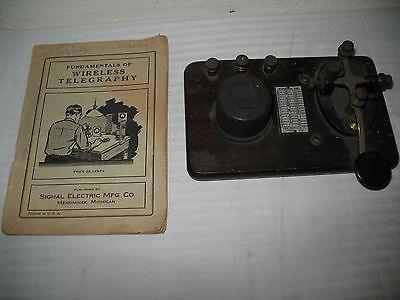 Signal Electric Wireless Telegraph Key WWII era 1943 Instruction Book Morse Code