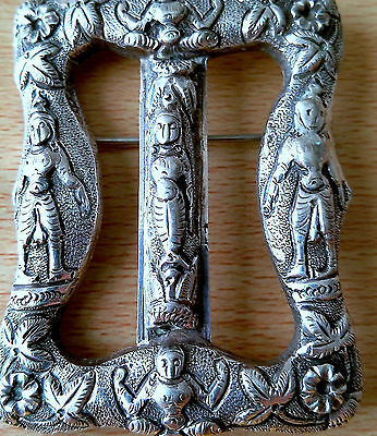 Old Antique 925 Silver Buckle/brooch With Unusual Ancient Decorative Ornaments