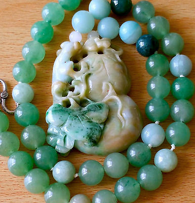 Magnificent Rare Vintage 100% Natural Jade Jadeite Gourd Ruyi Necklace. Grade A+