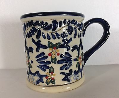 Hand Painted Expressions Mug Mediterranean Style Blue Floral Embossed