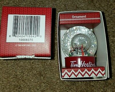 NEW 2015 Tim Horton's Cafe Mini Snow Globe Christmas Tree Ornament Decoration