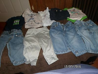 9 Piece Lot 6-9  Month & 6 Month Boy Jeans Hoodie Onesies Carter