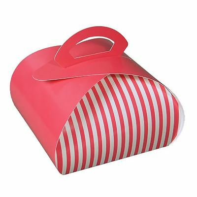 "7"" x 7"" Pie, Pastry, and Cupcake Carrier Pink & White Stripe 100/ctn"