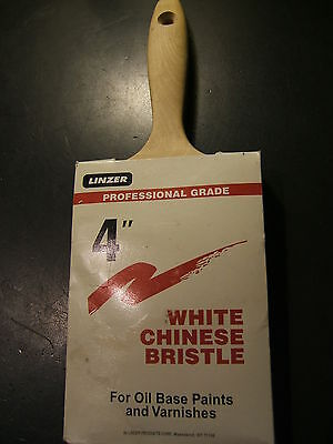 "Linzer White Chinese Bristle Brush With Wood Handle, 4"", Professional Grade"