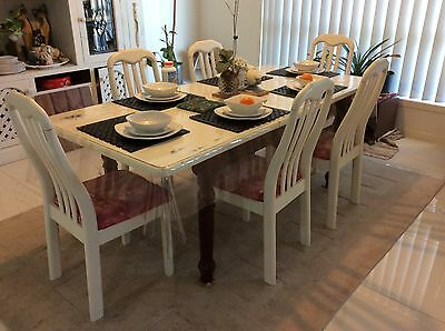 Shabby chic Hardwood Dining Table and Chairs