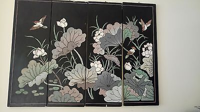 Chinese lacquer hand engraved screen