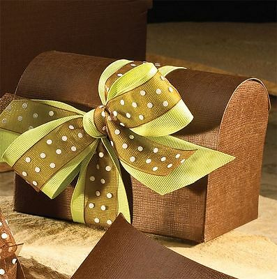 "Linen Embossed 6"" Chest Favor Box - Brown - 100 pack"
