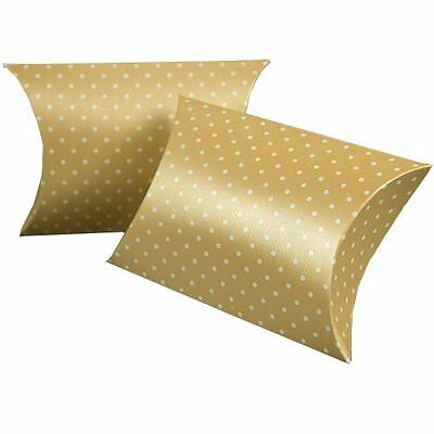 "Silk Embossed Pillow Favor Boxes - White Dots on Almond - 4"" Wide - 200 per pack"