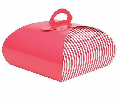 "10"" x 10"" Pie, Pastry, and Cupcake Carrier Pink/White Stripe 50/ctn"