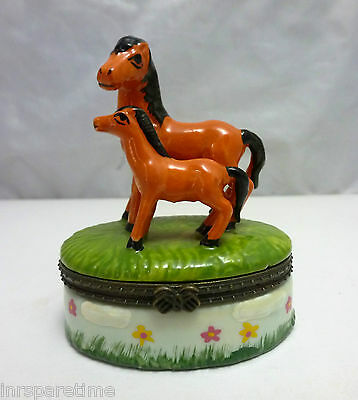 Colorful Porcelain Horses Trinket Box
